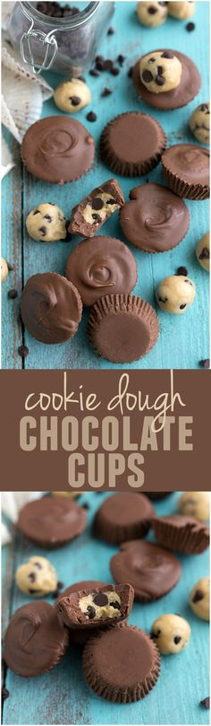 These Cookie Dough Chocolate Cups are NO BAKE and perfect if you love cookie dough! Delicious Recipe!