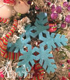 "RAZ 16"" Glittered Multicolored Snowflake Christmas Ornament Set of 4"