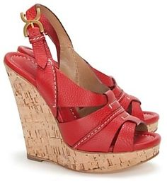 ShopStyle: Chloe Slingback Wedge Sandal: Red