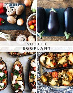 Vegetable and mozzarella stuffed eggplant Stuffed Eggplant, Sicilian, Mozzarella, Baked Potato, Recipies, Deserts, Healthy Recipes, Homemade, Dinner