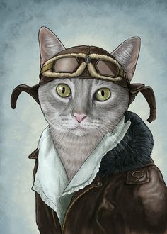 Amelia ~ Important Cats ~by Jenny Parks illustration I Love Cats, Crazy Cats, Cool Cats, Bastet, Steampunk Cat, Animal Gato, Image Chat, Gatos Cats, Cat People