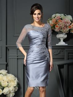 Sheath/Column Scoop 1/2 Sleeves Knee-Length Satin Mother of the Bride Dresses with Beading