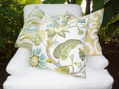 DESIGNER ABSTRACT Design LINEN Pillow Cover In Shades of green,blue, and cream. $35.50, via Etsy.