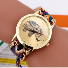 Hand Braided Elephant Wristwatch