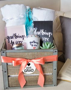 Looking for a personalized gift for the grad? Wrap some fun treats and gifts in a basket,  and then wrap with a bow. It's easy, personal and sure to be a winner! | Tiny Prints