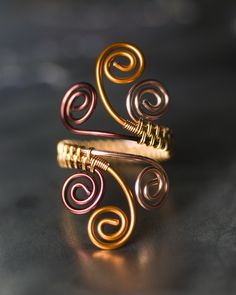 Shades of Copper Woven Spiral Copper Ring by Moss & Mist Jewelry | by Moss & Mist Jewelry