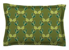 Flora Vine by Holly Helgeson Olive Cotton Pillow Sham