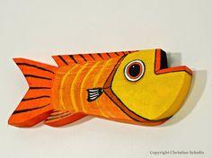 Wood Fish Art Painted Orange and Yellow Handmade in