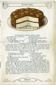 Cookbook Recipes, Baking Recipes, Cake Recipes, Dessert Recipes, Frosting Recipes, Retro Recipes, Vintage Recipes, Yellow Cake Recipe With Cake Flour, Swans Down Cake Flour Recipe
