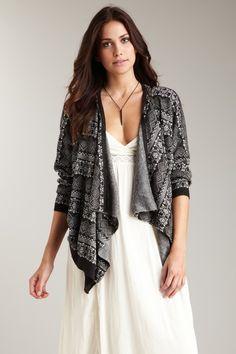 Stock Up: Fall Fashion  Costa Blanca Long Sleeve Drape Front Sweater