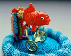 Felieke van der Leest 2002 Party Goldfish in Pool object with ring plastic, textile, gold ring 5 x 2.5 x 5 cm