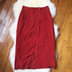 Paul Stuart Red Suede Midi Wrap Skirt Beautiful suede wrap skirt. Midi length. Fully lined. Small mark in front. NO TRADES. Paul Stuart Skirts Midi