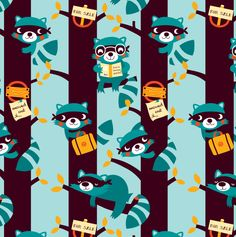 "https://flic.kr/p/bBrEbW | Racoons are taking over | Racoons are taking over!  Designed for a Spoonflower contest 'the next owl'  <a href=""http://www.spoonflower.com/designs/1135625"" rel=""nofollow"">www.spoonflower.com/designs/1135625</a>  © deborah van de leijgraaf - by-bora.com"