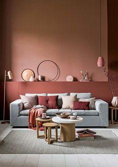 Pink Living Room Design - Page 20 of 21 - LoveIn Home Living Room Red, Living Room Colors, Living Room Decor, Bedroom Decor, 50s Bedroom, Gray Bedroom, Bedroom Colors, Modern Bedroom, Color Terracota