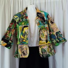 *Host Pick* 11/06 Multi-Color Boutique Jacket Has 3/4 length sleeves, 4 buttons, and Picasso-style design. Is blue jean material. Worn oncd Kaktus Jackets & Coats