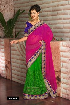 half and half dot design with net designer saree combination of Pink and parrot green color..This beautiful saree comes with violet blouse