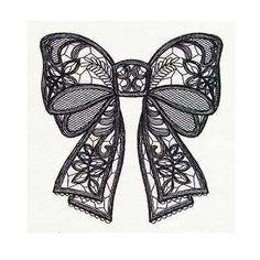 Black Lacy Bow Tattoo Design