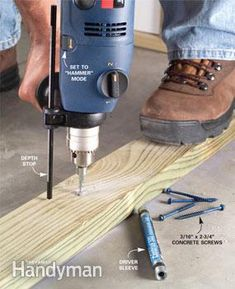 Drilling Concrete and Installing Fasteners - Anchor objects to concrete quickly and securely. Concrete screws are the perfect fastener for speedily anchoring objects to concrete. We show you how to drill and drive them quickly and easily and how to choos Concrete Pad, Concrete Bricks, Concrete Projects, Concrete Porch, Backyard Projects, Family Handyman Magazine, Diy Household Tips, Cleaning Tips, Concrete Anchors