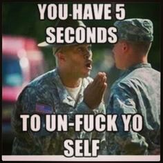 Lmao!! I haven't smiled all day, this brought one out!! Back in Basic Training (a.k.a bootcamp) I got in trouble 2x for smiling and almost got caught a few other times!! Drill Sergeants say the FUNNIEST things!! And then we can't laugh!! (-_-)   #ArmyStrong #BasicTrainingFunnies