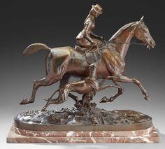 Geoffroy (Comte) de Ruillé (1842-1922) Anne de Ruille et son lévrier Bronze à patine médaille Signé sur la terrasse 44 x 49 cm environ - Aguttes - 19/12/2013