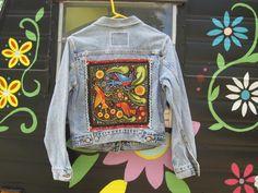 Sale/Vintage Levis Jean Jacket/Embellished/Size by TheHippieHabit