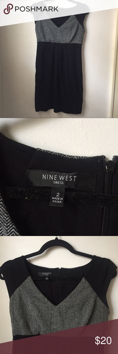 Nine West herringbone black dress size 2 This is an extremely comfy and well made dress. Size 2, excellent condition. Has a belt loop for a thin belt but doesn't come with belt. 34 inches long. Rayon, spandex, polyester. Cap sleeve. Nine West Dresses Midi