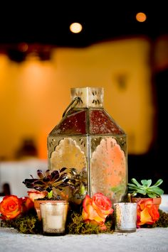 Liv by Design   Lisa Hause   Studio 563   Duchman Winery Wedding   Pascals Catering   Orange Rose Centerpiece   Succulent Centerpiece   Texas Winery Wedding   Mercury Glass Candleholder