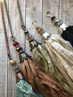 Sari silk flower bell tassel/czech sari silk tassel/flower cap sari silk tassel/U choose color/sari silk tassel necklace/rts Ribbon Jewelry, Tassel Jewelry, Textile Jewelry, Fabric Jewelry, Beaded Jewelry, Handmade Jewelry, Flower Jewelry, Jewellery, Diy Tassel