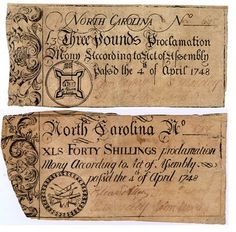 Colonial currency: North Carolina
