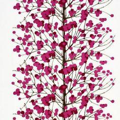 Lumimarja roze - rode stof van Marimekko.