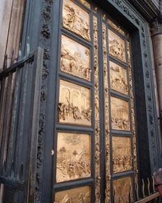 """The golden doors, dubbed """"The Gates of Paradise"""" by Michelangelo have stood outside the Duomo in Florence, Italy since In there was a competition announced to design the doors offering vigil to the survivors of the Black Plague of Travel Around The World, Around The Worlds, Italy Italy, Florence Italy, Michelangelo, Historical Sites, Lonely Planet, Fences, Italy Travel"""