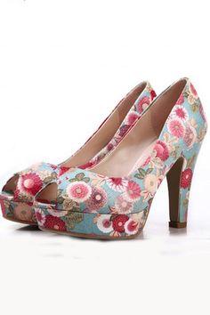 Retro Elegant Floral Peep-toe Pumps