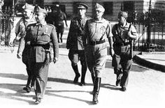 Spanish Civil War: Nationalist generals Franco and Yagüe in Sevilla, july 1936. The Nationalists, led by General Francisco Franco, represented conservative sectors like the Falange, a mass-based fascist organization, and were backed by much of the military, the Catholic Church, and large landowners. The Republicans, opponents of the Nationalists, were the governing coalition. They ruled Spain from their 1931 election, at which time they established the Second Republic, until their 1939…