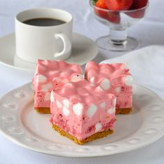 Luscious No Bake Strawberry Chiffon Squares are a breeze to make and can be served as a creamy frozen dessert; in fact that's how many people prefer them.