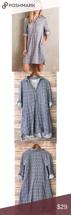"""Anthropologie Isabella chambray denim dot dress Anthropologie Isabella Sinclair denim chambray dot shirtdress  Color: blue Size: small Pit to pit: 38"""" Length: 37""""    I1-03  Please read all items sizing, details and photos before purchasing  We ship out daily for fast shipping to you! Dresses"""