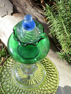 Glass Garden Yard Art Sculpture with Swarovski Crystals Spring Summer Green Blue Design