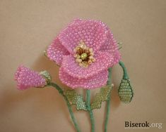 Beaded flower PATTERN and TUTORIAL Poppy