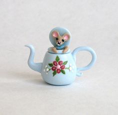 Miniature Wee Mouse in  a Teapot Teapot OOAK by by ArtisticSpirit