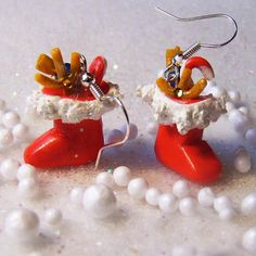 OOAK Miniature Santa Claus Boots Earrings Fun by FairiesMiniatures, $10.00