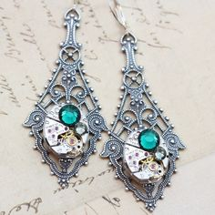 Steampunk Earrings Clockwork Swarovski Crystals May Emerald Green & Black Diamond Steam Punk Jewelry  http://www.etsy.com/listing/98039696/steampunk-earrings-clockwork-swarovski#