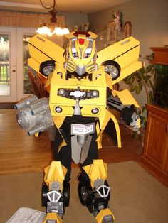 Transformers costume diy pinterest transformer costume transformers bumblebee homemade halloween costumeah that is practical for trick or treating solutioingenieria Choice Image