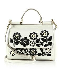 Dolce & Gabbana Sicily Medium Floral Cameo Textured Leather Top-Handle Satchel