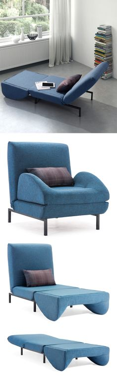 Blue arm chair sleeper // folds out to become a twin mattress in seconds! #furniture_design