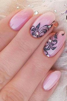 Nail, nail art, pink, black, flower