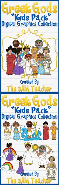 Greek gods kids pack graphics collection by The Teacher. Great addition to Reading Lessons, printables, and stories! Ancient Greece Crafts, Ancient Art, Ancient History, Third Grade Art, Abi Motto, Summer Lesson, Kids Graphics, Religious Symbols, Godchild