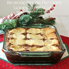 Brownie Pecan Pie Ooey Gooey Butter Cake - Recipes Food and Cooking