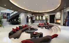 Luxury house - living room (luxury) (luxury furniture) (luxury homes) (living r. - Petra Home Stairs In Living Room, Sunken Living Room, Living Room Modern, Home Living Room, Kitchen Living, Small Living, Living Spaces, Modern Mansion Interior, Luxury Interior