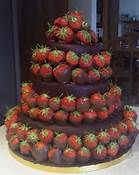 double dipped chocolate strawberries and with dark chocolate and chocolate cake