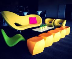 Our amazing Loopy sofa in Yellow, Loopy armchairs in Yellow, Cheeky Low chair in lime and Gehry cubes in Yellow. Create the perfect event when you hire furniture from Valiant Hire www.valiant.com.au  Sydney, Melbourne, Brisbane and surrounding areas.
