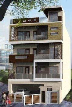 House Outer Design, House Front Design, Modern House Design, 3 Storey House Design, Bungalow House Design, Le Riad, Modern House Plans, Facade House, Building Design